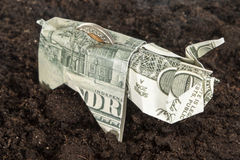 Dollar origami pig on the ground Royalty Free Stock Photography