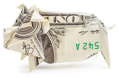 Dollar origami pig isolated Stock Image