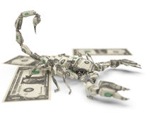 Dollar origami scorpion Royalty Free Stock Photo