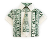 Dollar origami shirt and tie isolated Royalty Free Stock Photos