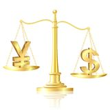 Dollar outweighs Yen on scales. Royalty Free Stock Photography