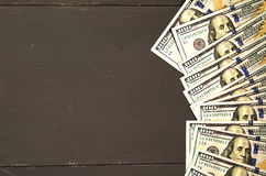 Dollar på en träbakgrund bästa sikt för dollar Royaltyfria Foton
