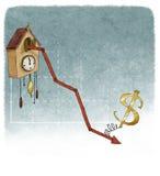 Dollar på finansiell graf Arkivfoton