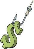 Dollar på kroken Royaltyfri Fotografi