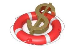 Dollar på livboj stock illustrationer