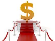 Dollar på röd matta stock illustrationer
