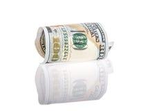 Dollar på vit med reflexion Arkivbilder