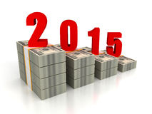 Dollar pack bar chart 2015 year growth Stock Images