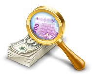 Dollar pack becomes euro, look through magnifier. Stock Photo