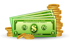 Dollar pack with coins Royalty Free Stock Photos