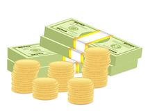 Dollar pack and coins. Dollar banknotes pack and coins on white background Stock Image