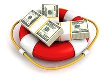 Dollar packar i rött lifebuoy. Pengar sparar begrepp Royaltyfri Foto