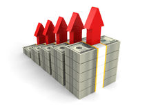 Dollar packs bar graph with rising up red arrows Royalty Free Stock Image