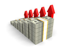 Dollar packs bar graph with rising up red arrows Royalty Free Stock Photo