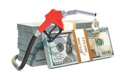 Dollar packs with fuel pump nozzle, 3D rendering. Isolated on white background Stock Images