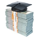 Dollar packs with graduation cap. Savings for education concept,. 3D Royalty Free Stock Images