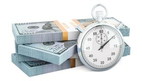 Dollar packs with stopwatch, make money concept. 3D rendering. Isolated on white background Royalty Free Stock Photos