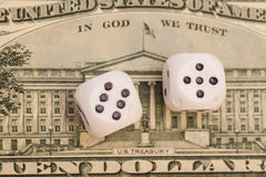 Dollar and Pair of dice Stock Photos