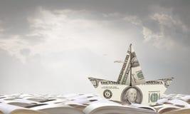 Dollar paper boat . Mixed media Royalty Free Stock Image