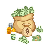 Dollar paper business finance money stack in bag of bundles us banking edition and banknotes bills isolated wealth sign Stock Photo