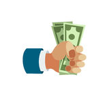 Dollar paper business finance money stack in hand us banking edition and banknotes bills in safe wealth sign investment Stock Photography