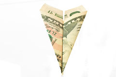 Dollar paper plane Royalty Free Stock Photos