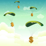 Dollar parachutes Stock Photos