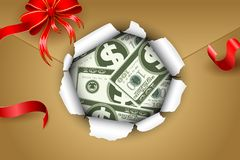 Dollar in Parcel Royalty Free Stock Images