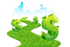 Dollar Path. Illustration of dollar growing on grass path with city scape backdrop Royalty Free Stock Photography
