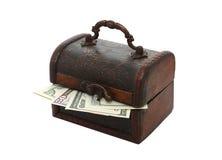 Dollar peeking through the closed chest Stock Photography