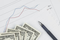 Dollar and pen with blank paper on graph background Royalty Free Stock Photography