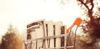 Dollar pengar i anseende för shoppingvagn på suddig bakgrund av naturen arkivfoton