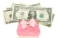 Dollar pengar i handväskan Fotografering för Bildbyråer