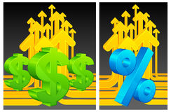 Dollar and percent on arrows background Royalty Free Stock Photos