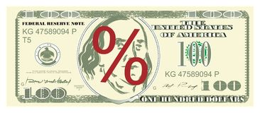 Dollar and percent. One hundred dollar with red percent stock illustration