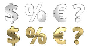 Dollar percentage euro question mark 3D render Stock Image
