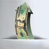 20 Dollar-Pfeil-Hintergrund Stockfotografie