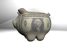 Dollar pig with texture sepia background. 3d pig with texture white background for commercial and bank concepts Stock Photography