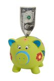Dollar in piggy bank  Royalty Free Stock Photos