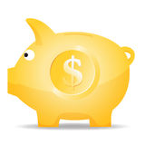 Dollar Piggy Bank. Vector cartoon illustration of a golden piggy bank with dollar symbol Stock Photos