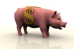 Dollar Piggy Bank. Piggy Bank With Dollar Currency Symbol On The Side Royalty Free Stock Photography