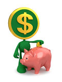 Dollar Piggy Bank Account. Cartoon Coin-Man putting money in piggy bank Royalty Free Stock Photos