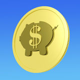 Dollar Piggy Coin Shows American Business Stock Photo