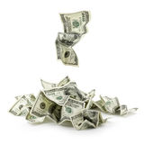Dollar. Pile of crumpled money dollar bills overs white background Stock Photos