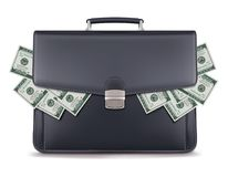 Dollar piles inside briefcase. Creative Royalty Free Stock Photo