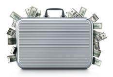 Dollar piles inside briefcase. 3D illustration. Dollar piles inside briefcase isolated on white background. 3D illustration Stock Image