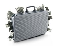 Dollar piles inside briefcase. 3D illustration. Dollar piles inside briefcase isolated on white background. 3D illustration Stock Photography