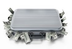 Dollar piles inside briefcase. 3D illustration Royalty Free Stock Photography