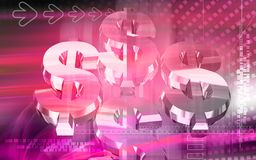 Dollar in pink colour. Digital illustration of dollar in pink colour Stock Photography