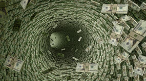 Dollar Pipeline - lots of 20 Dollar Bills. Rendered with Blender 3D stock illustration